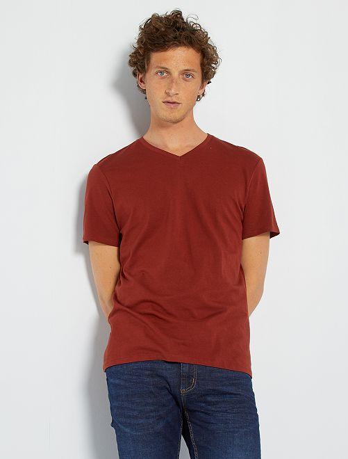 Camiseta regular de algodón con cuello de pico                                                                                                                                                                                                                                                     NARANJA