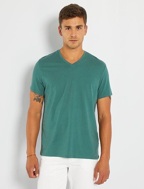 Camiseta regular de algodón con cuello de pico                                                                                                                                                                                                     verde oscuro
