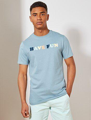 6bdae13ee2a Hombre talla S-XXL - Camiseta regular de algodón orgánico con punto de rizo  -