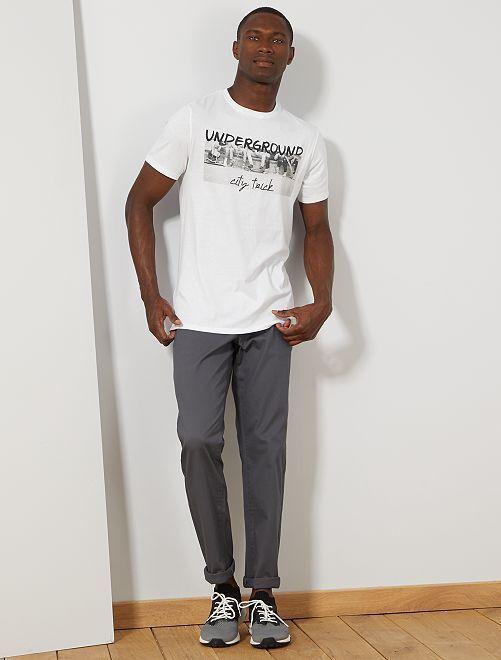 Camiseta regular de algodón orgánico estampada                                                                                                                                                                                                                                         BLANCO