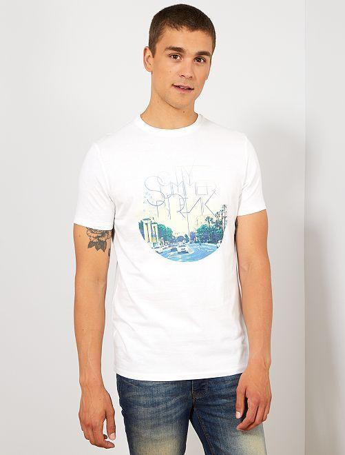 Camiseta regular de algodón orgánico estampada                                                                                                                                                                                                                                                     BLANCO Hombre