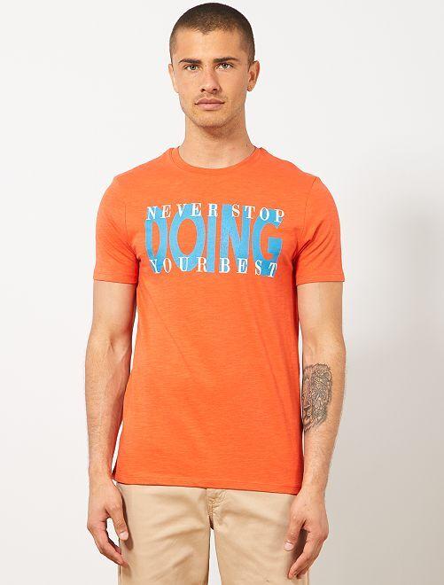 Camiseta regular de algodón orgánico estampada                                                                 NARANJA