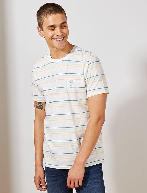 Camiseta regular de algodón orgánico                             multicolor Hombre