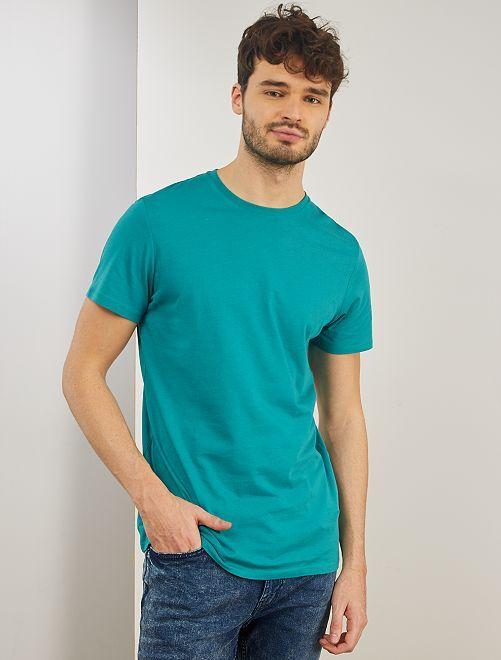 Camiseta regular de algodón puro +1,90 m                                                     AZUL