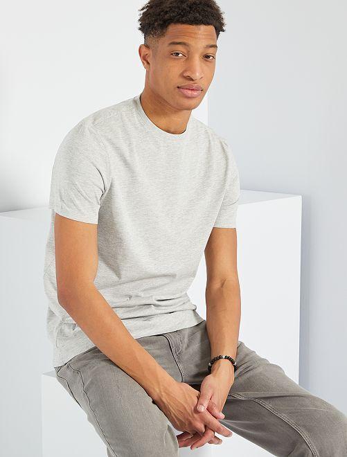 Camiseta regular de algodón puro +1,90 m                                                                 GRIS Hombre de más de 1'90m