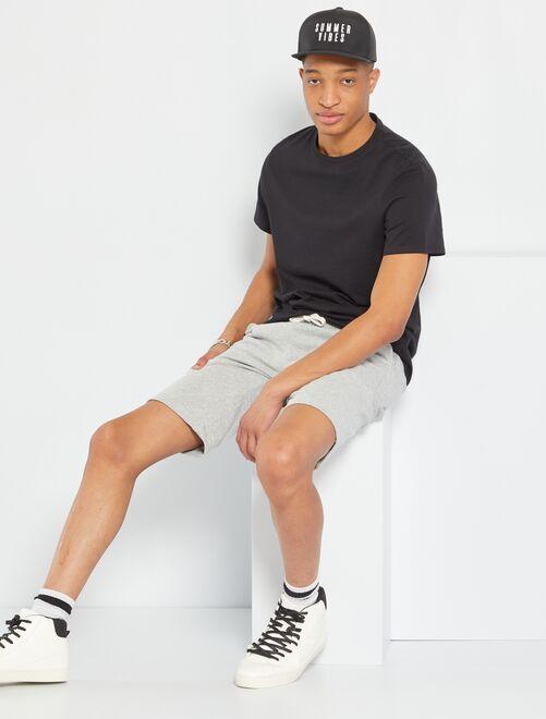 Camiseta regular de algodón puro +1,90 m                                                                 negro Hombre de más de 1'90m