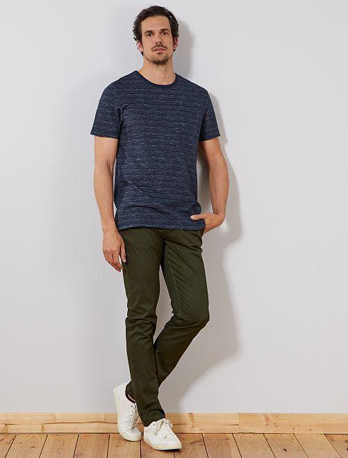 Camiseta regular de punto en relieve +1,90 m                             AZUL Hombre de más de 1'90m