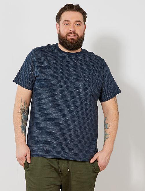 Camiseta regular de punto en relieve                                         AZUL Tallas grandes hombre