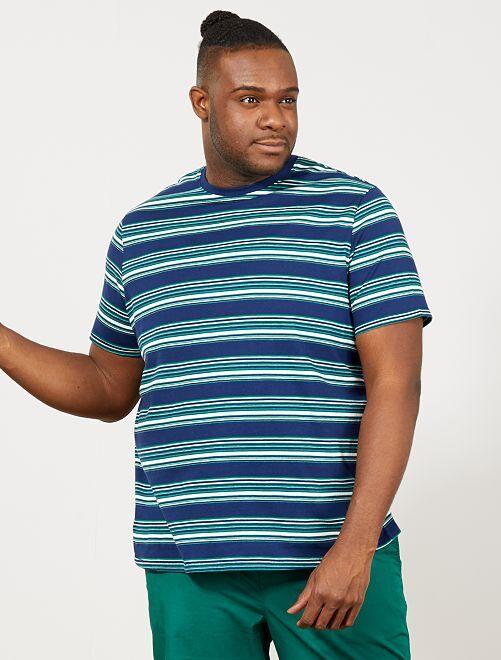 Camiseta regular de rayas                                         a rayas azul Tallas grandes hombre
