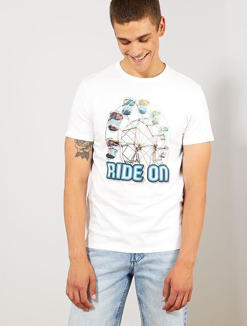 Camiseta regular estampada                                                     BLANCO Hombre