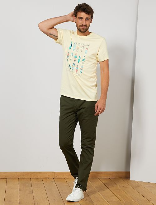 Camiseta regular estampada Ecodiseño +1,90 m                                                     AMARILLO