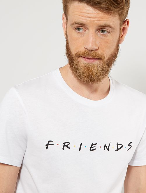Camiseta regular estampada 'Friends'                             blanco