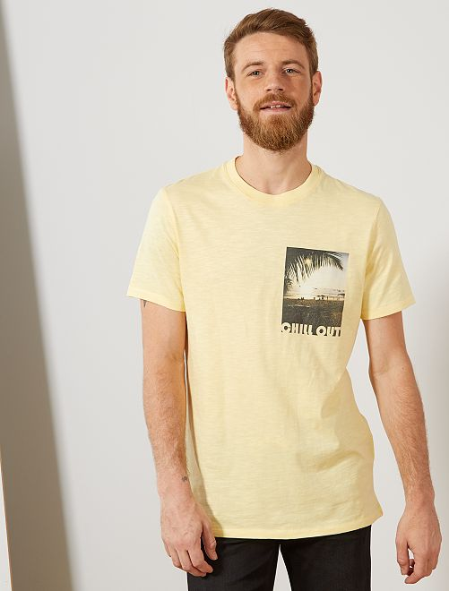 Camiseta regular photoprint                                                                 AMARILLO Hombre