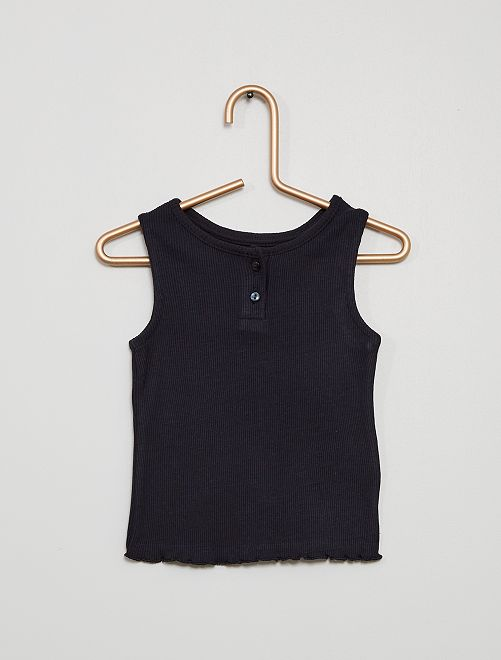 Camiseta sin mangas canalé                                                                                         AZUL