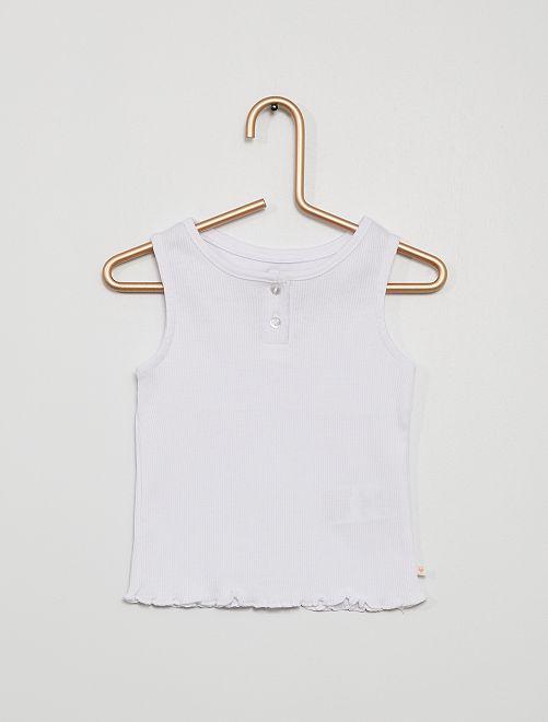 Camiseta sin mangas canalé                                                                                         blanco