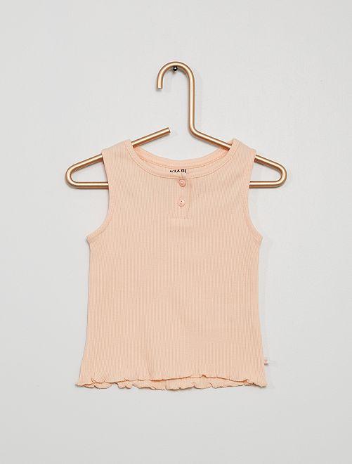 Camiseta sin mangas canalé                                                                                         ROSA