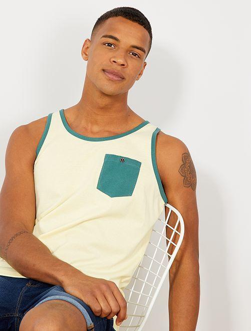 Camiseta sin mangas con bolsillo en el pecho                                                                 AMARILLO Hombre
