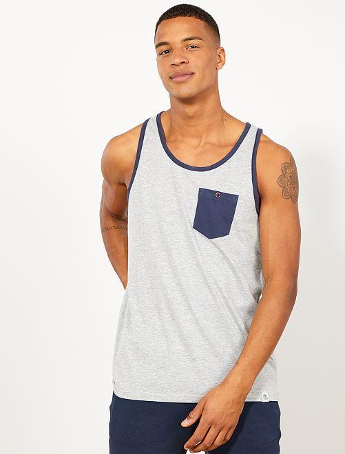 Camiseta sin mangas con bolsillo en el pecho                                                                 gris claro mezclado Hombre