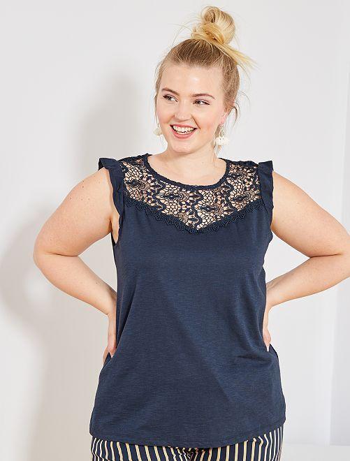 Camiseta sin mangas con bordado                                         AZUL Tallas grandes mujer