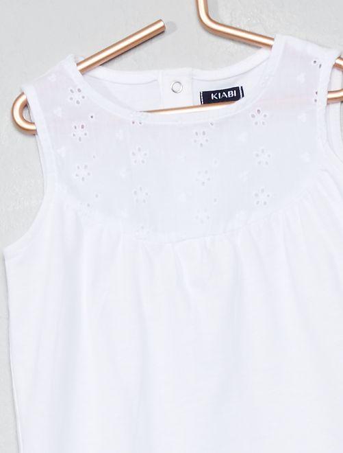f28defff3 Camiseta sin mangas con bordado inglés Bebé niña - BLANCO - Kiabi ...