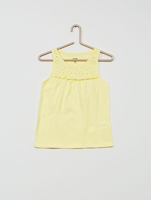 Camiseta sin mangas con bordado inglés 'eco-concepción'                                                                             amarillo limón