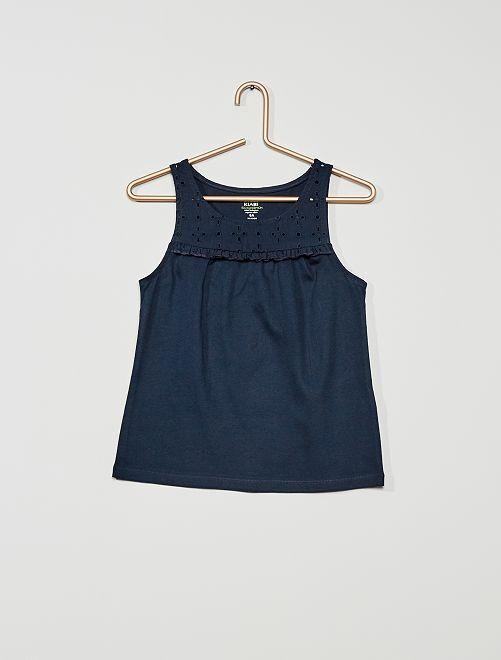 Camiseta sin mangas con bordado inglés 'eco-concepción'                                                                             azul
