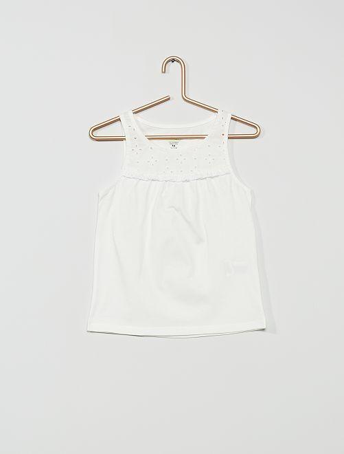 Camiseta sin mangas con bordado inglés 'eco-concepción'                                                                             blanco nieve