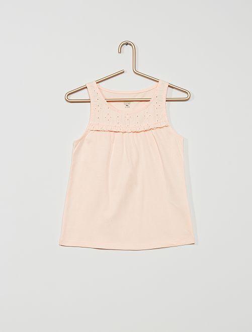 Camiseta sin mangas con bordado inglés 'eco-concepción'                                                                             rosa