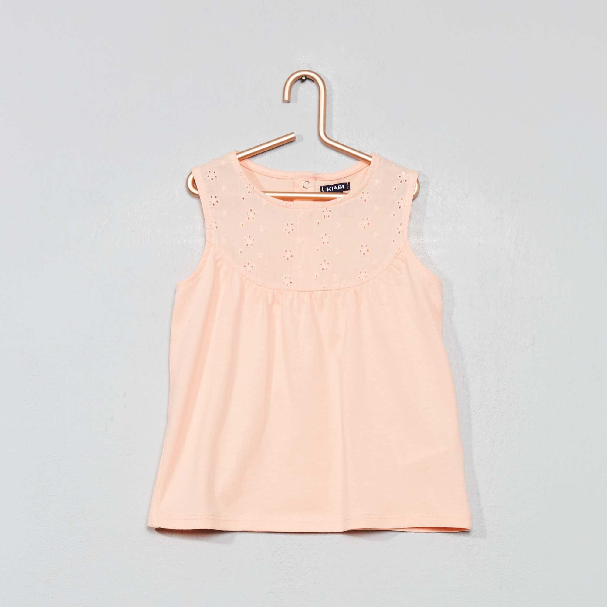 672a20f5e Camiseta sin mangas con bordado inglés NARANJA Bebé niña. Loading zoom