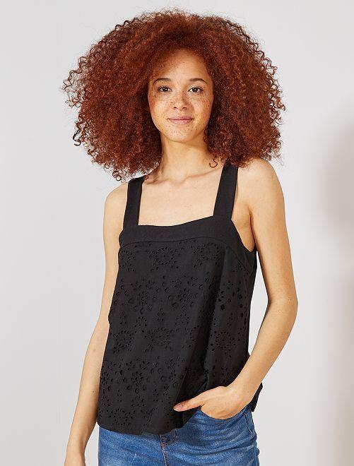 Camiseta sin mangas con bordado inglés                                         negro Mujer talla 34 a 48