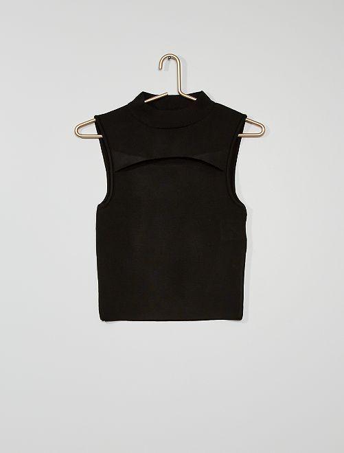 Camiseta sin mangas con cierre en la parte delantera                                         negro