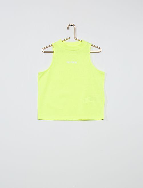 Camiseta sin mangas con cuello alto                             AMARILLO