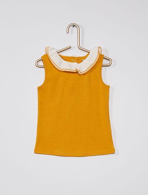 Camiseta sin mangas con cuello de gasa de algodón                                                                             AMARILLO