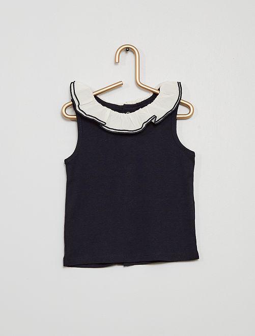 Camiseta sin mangas con cuello de gasa de algodón                                                                             AZUL