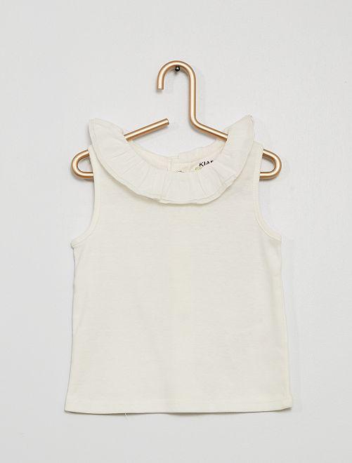 Camiseta sin mangas con cuello de gasa de algodón                                                                             blanco nieve