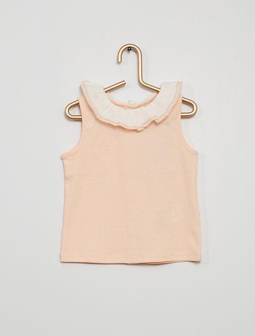 Camiseta sin mangas con cuello de gasa de algodón                                                                             ROSA