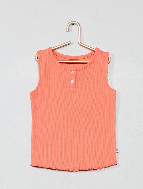 Camiseta sin mangas con cuello panadero                                                                             rosa coral Bebé niña