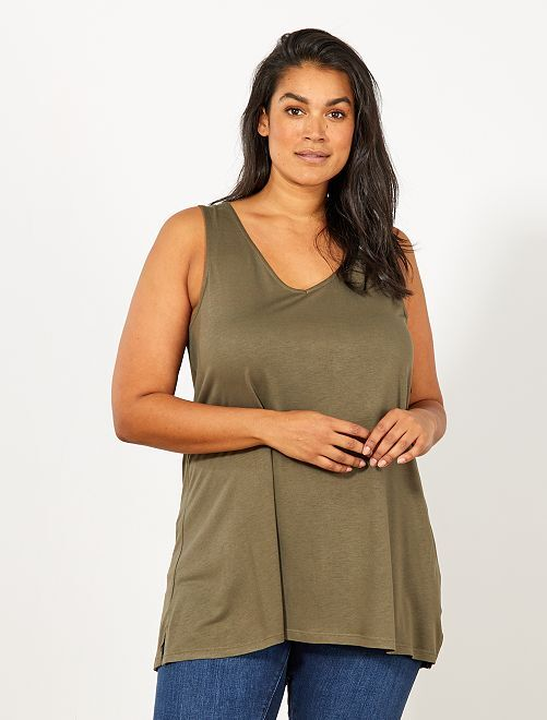 Camiseta sin mangas con escote de pico delante y detrás                                                                 KAKI Tallas grandes mujer