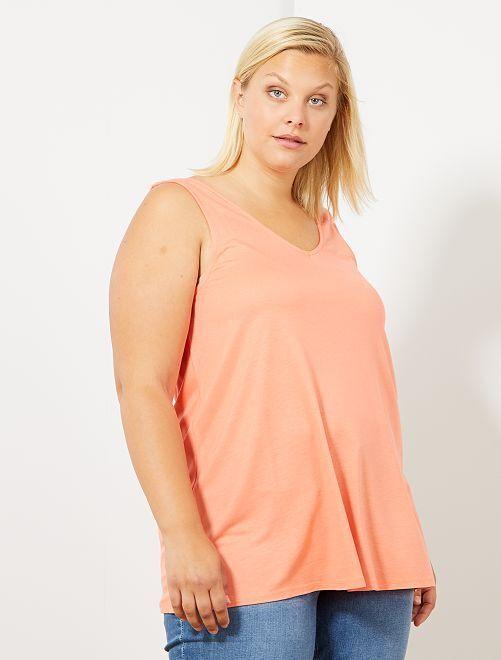 Camiseta sin mangas con escote de pico delante y detrás                                         naranja coral