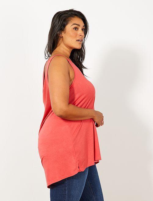 Camiseta sin mangas con escote de pico delante y detrás                                                                                         rojo cereza Tallas grandes mujer