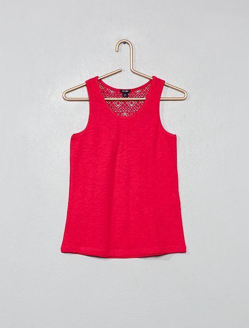 Camiseta sin mangas con espalda de macramé                                                     fucsia Chica