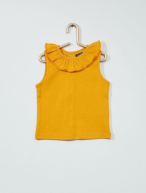 Camiseta sin mangas con gorguera                                                     AMARILLO