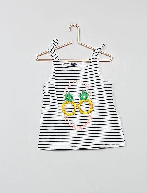 Camiseta sin mangas con lazos 'piña'                                                                             BEIGE