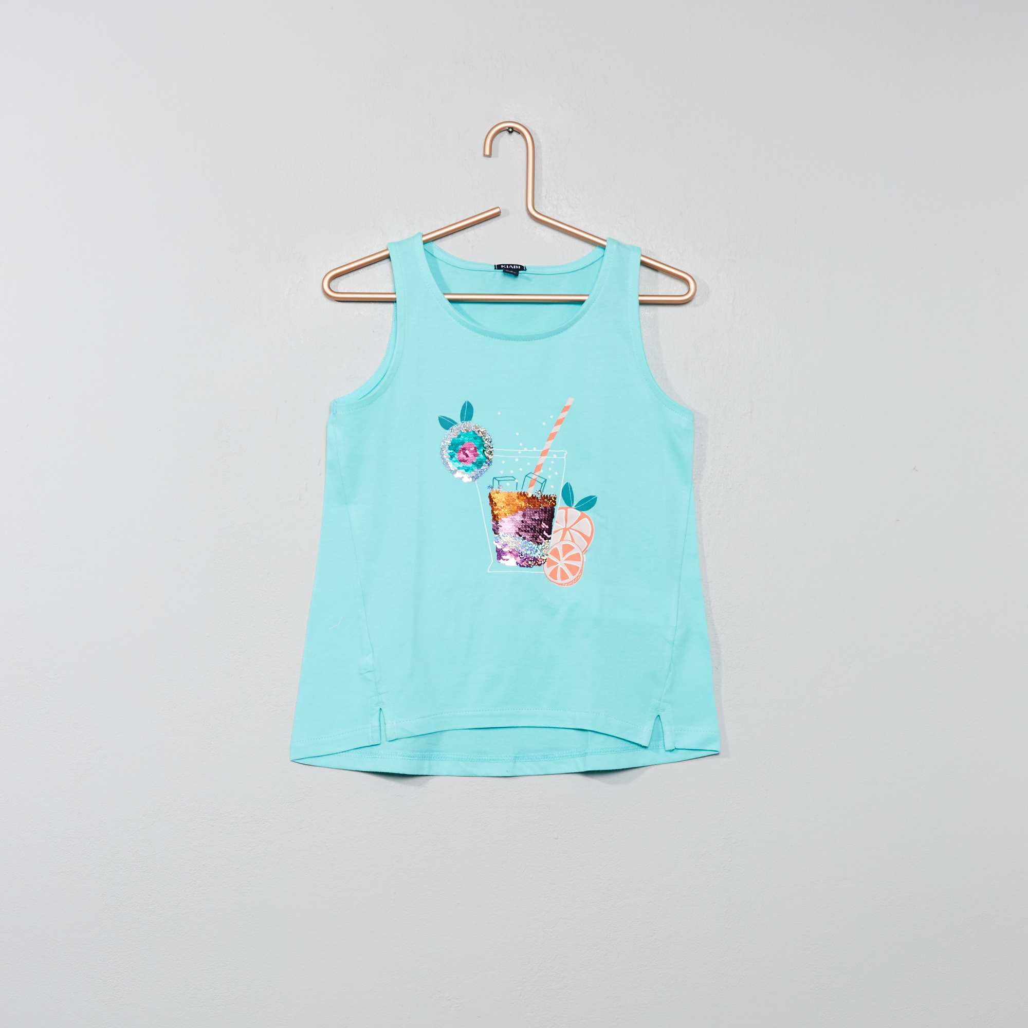 48ecd43e2 Camiseta sin mangas con lentejuelas reversibles Chica - AZUL - Kiabi ...