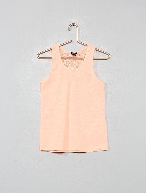 Camiseta sin mangas con parte trasera de encaje                                                     NARANJA Chica