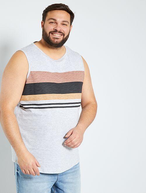 Camiseta sin mangas con rayas                                         GRIS