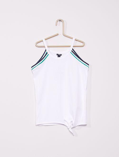 Camiseta sin mangas con sisas americanas anudada                                                                 blanco