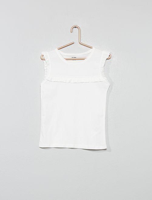 Camiseta sin mangas con volantes                                                                 blanco nieve Chica