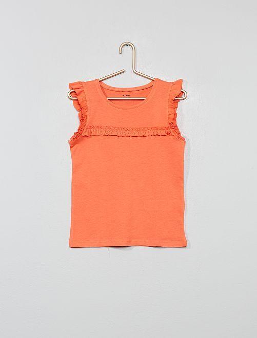 Camiseta sin mangas con volantes                                                                 naranja coral Chica