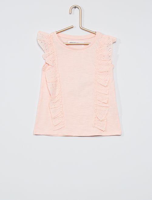 Camiseta sin mangas con volantes                             rosa